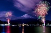 河口湖・冬の花火